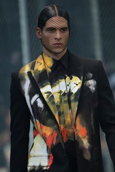 Givenchy   Fall 2014 Menswear Collection   Style.com. Can anyone tell me what's with the face net?? Or whatever you call that!!