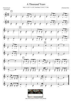 A Thousand Years - Pauta para 2 flautas (com legenda)