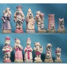 Cats and Dogs Hand Decorated Crushed Stone Chess Pieces