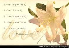 1 Corinthians 13:4-5—Love is patient, love is kind. It does not envy, it does not boast, it is not proud. It is not rude, it is not self-seeking, it is not easily angered, it keeps no record of wrongs.