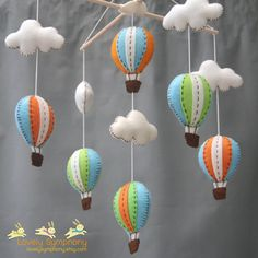 Lime Miami hot air balloons baby mobile - baby mobile.