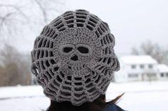 Homemade slouchy crocheted skull beanie by Zestex on Etsy