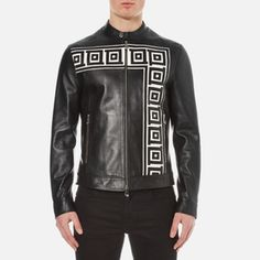 Versace Collection Men's Printed Leather Jacket - Black