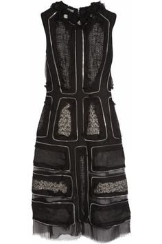 Alexander McQueen dress: black wool-felt, black and white tweed inserts with sheer frayed silk-chiffon overlay, round neck with frayed silk-chiffon and crystal appliqué, zip trims, unfinished sheer silk-chiffon hem and panels, partially lined. #mcqueen