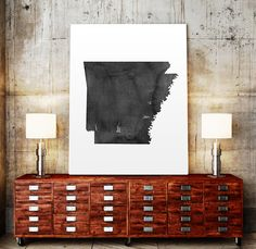 USA MAP PRINTABLE Arkansas watercolor Arkansas print by TypoWorld