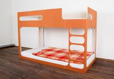 Ikea -style bunk beds - saves headroom to put the mattress near the floor