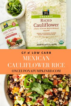 Mexican cauliflower rice is a fun and nutritious way to eat cauliflower rice! It's low in carbs and filled with plant-based protein and fiber! Frozen Cauliflower Rice, Cauliflower Recipes, Paleo Recipes, Low Carb Recipes, Avocado Recipes, Free Recipes, Veggie Bowl Recipe, Veggie Noodles, A Pumpkin