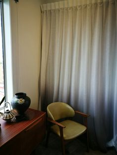 Sheer ombre over thermal lining. Mid Century Modern Furniture, Mid-century Modern, Curtains, Home Decor, Blinds, Decoration Home, Room Decor, Draping, Home Interior Design
