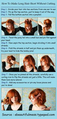 How To Make Long Hair Short Without Cutting... I should try it and freak out my BF. :)