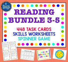 This money-saving bundle of 11 spinner games for upper elementary has 448 task cards reviewing author's purpose, categories, cause & effect, character traits, compare & contrast, details, idioms, inferences, main idea, text structures & word meaning, plus a worksheet for each skill. Bundle price is a savings of $20! Perfect for RTI or test prep!