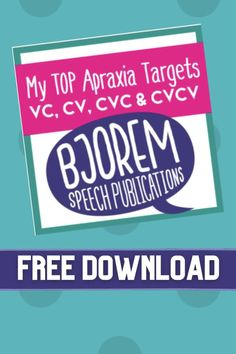 My Top Apraxia Targets - Free Download for speech therapy #speechtherapy #bjoremspeech #speechtherapy #freespeechtherapymaterials