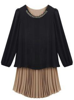 Black Long Sleeve Contrast Pleated Chiffon Dress US$31.64