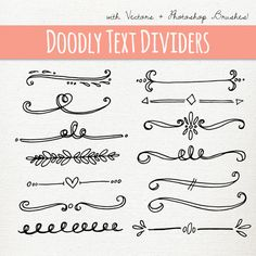 DOODLY texte diviseur Clip Art / / brosses Photoshop ABR / / Hand Drawn Style…