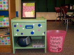 Classroom Library - love the return bucket