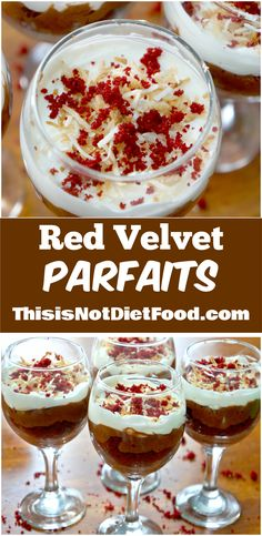 Red Velvet and Peanut Butter are a match made in heaven in these delicious parfaits!