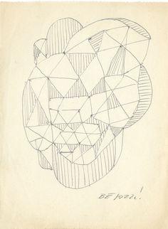 E. Besozzi pitt. s.d. (1959) Composizione biro su carta cm. 16x12 arc. 673