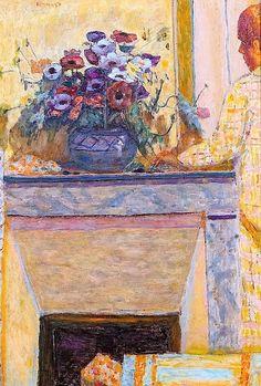 """Pierre Bonnard (1867-1947) """"Fleurs sur la cheminée et personnage"""""""