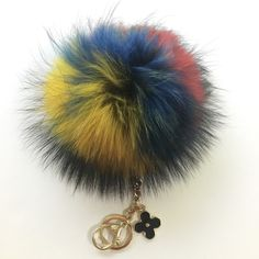 NEW Collection Dimensional Swirl™ Multi Color Raccoon Fur Pom Pom bag charm patent leather strap and buckle - $28.80 USD