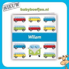 Geboortekaartje babyboefjes goedkope geboortekaartjes   Jongen speelgoed Volkswagen busje kleurrijk  Te bestellen op www.babyboefjes.nl