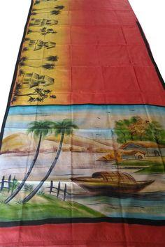 Saree Painting Designs, Fabric Paint Designs, Tanjore Painting, Krishna Painting, Silk Drapes, Silk Fabric, Fabric Colour Painting, Hand Painted Sarees, Block Painting