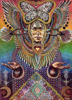 Bird Tribe Goddess Hawk Moon Phases Ayahuasca by MariposaGalactica