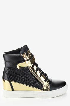 Wedge Metal Deco Sneakers