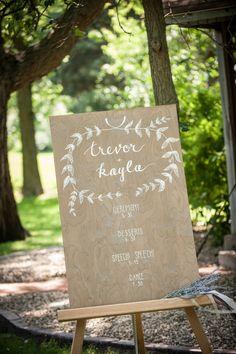 A Homegrown Minnesota Wedding: Wedding schedule sign / Outdoor, natural wedding / Hand-painted   Malwitz Photography