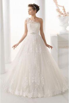 Vestido de novia solo hombro de tul y encaje princesa 124 Nebra 2014