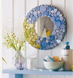 Espejo mosaico blanco y negro por memosaicsandglass en for Espejos murales decorativos