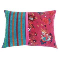 Multicolor cotton pillow with a floral motif and striped detail.  Product: PillowConstruction Material: Cotton