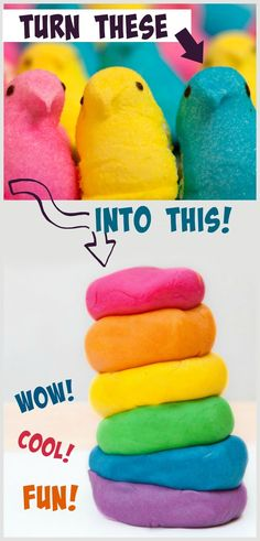 Make play dough from PEEPS- what a fun project! Kids love this! The play dough feels so cool, too! Easter Activities, Spring Activities, Craft Activities, Preschool Crafts, Easter Crafts, Toddler Activities, Fun Crafts, Crafts For Kids, Easter Ideas