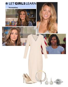 """""""Princess Eleanor Recording a Video Message for Let Girls Learn"""" by eleanorofwales ❤ liked on Polyvore featuring moda, Wes Gordon, SHOUROUK, Gianvito Rossi, women's clothing, women, female, woman, misses i juniors"""
