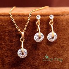 Indian Jewelry Wedding Bridal Jewelry Sets Trendy 18K Gold Plated CZ Diamond Pendant Necklace Earrings Set For Women Gift