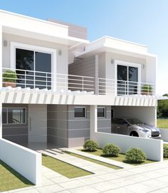 Cores de Casas: Tendências e Fotos para Pintura Externa Duplex House Design, Duplex House Plans, House Front Design, Small House Design, Dream House Plans, Modern House Design, Modern Townhouse, Townhouse Designs, Style At Home