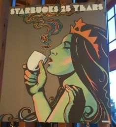 Beautiful Siren Art Work at the Roastery Starbucks Art, Starbucks Siren, Artwork, Poster, Journal Ideas, Fictional Characters, Beautiful, Moon, Coffee