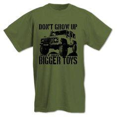 Bang Tidy Clothing Men's Buy Bigger Toys Picture of Land Rover T Shirt: Amazon.co.uk: Clothing