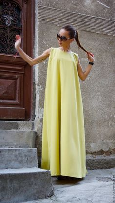 Яркое платье в пол длинное платье сарафн мустард макси длина яркие платья
