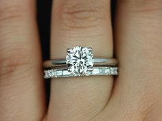 Dad's diamond wedding set combination. Solitaire (with halo possibly? depends on size when out of his ring) Plain white gold band Baguette/diamond wedding band from mom's ring. Alberta & Gabriella 14kt White Gold Round FB by RosadosBox on Etsy