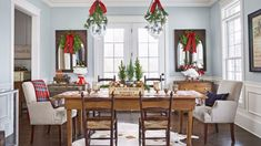 Put out memorable Christmas table decorations this season with these holiday decor ideas. From stunning Christmas centerpieces to place settings and beyond, our table decorations are sure to sparkle. Christmas Table Centerpieces, Christmas Table Settings, Holiday Tables, Centerpiece Ideas, Christmas Decorations, Christmas Bathroom, Christmas Kitchen, Diy Christmas, Country Christmas
