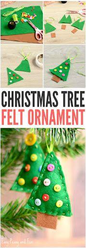 Christmas Tree Felt Ornament Craft for Kids to Make