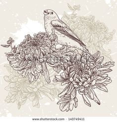 Floral background with birds and chrysanthemums vintage pattern - stock vector