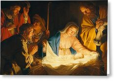 The Adoration Of The Shepherds Greeting Card by Gerrit van Honthorst