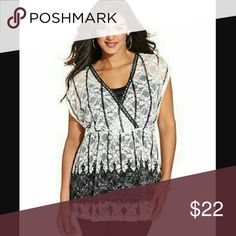 NY Collection Plus Size Short-Sleeve Lace Empire T NY Collection Plus Size Short-Sleeve Lace Empire Top NY Collection Tops