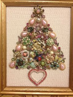 Large Vintage Jewelry Christmas Tree framed Size 9x11 Pink Green