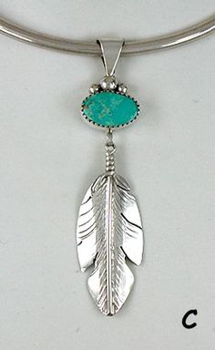 Authentic Native American Turquoise Feather Pendant by Ben Begay Navajo
