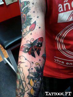 tattoo Borboleta vermelha e preta, tatuagem Borboleta vermelha e preta