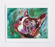 Boston bull terrier gift, Dog Painting - Signed Print from original acrylic boston terrier dog painting 8x10,… #dogs #pets #puppy
