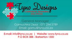 Business Card Design >> Tyno Designs Nelspruit - Created by Design so Fine