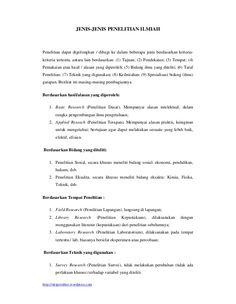 http://skripsistikes.wordpress.com JENIS-JENIS PENELITIAN ILMIAH Penelitian dapat digolongkan / dibagi ke dalam beberapa j...