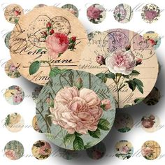 Carte Postale Roses - Digital Collage Sheet - 1inch round - Buy 3 sheets and get the 4th FREE - Printable Download. 3.50, via Etsy.